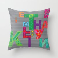 typo Throw Pillows featuring typo by nuage rouge