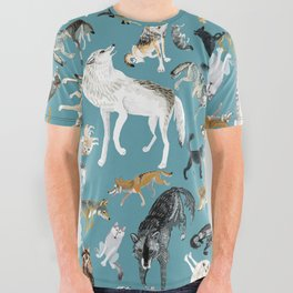 Wolves of the World pattern 2 All Over Graphic Tee