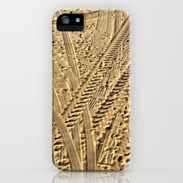 Tire tracks in the sand. iPhone Case