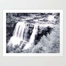 West Virginia Blackwater Falls Black and White Art Print