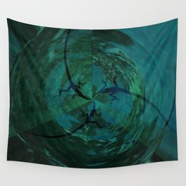 Synchronized Lizard Swimming Wall Tapestry