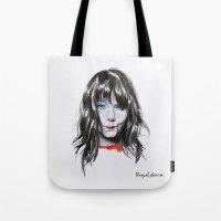 bjork Tote Bags featuring Bjork Portrait by Raquel García Maciá