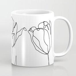 Botanical illustration line drawing - Three Tulips Coffee Mug