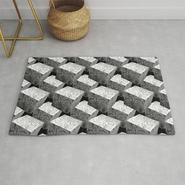 3D Cubes_Black Woodblocks Rug