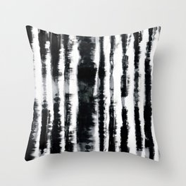 Tie-Dye Shibori Stripe BW Throw Pillow