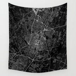 Austin Black Map Wall Tapestry