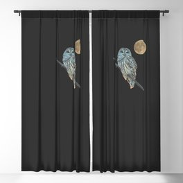 Owl, See the Moon (sq Barred Owl) Blackout Curtain