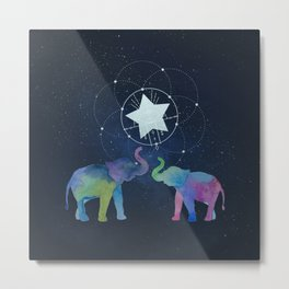 Elephants in starlight - Technicolour safari Metal Print