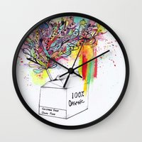 vegan Wall Clocks featuring Vegan Victory by Sam Corona