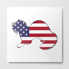 "Ferret ""American Flag"" Metal Print"