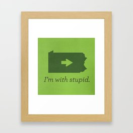 I'm With Stupid Framed Art Print