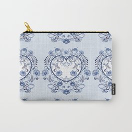 Blue floral heart Carry-All Pouch