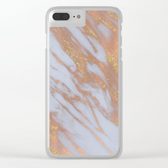 Marble - Rose Gold Marble with Yellow Gold Glitter Clear iPhone Case
