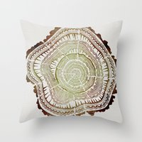 tree rings Throw Pillows featuring Tree Rings – Watercolor Ombre by Cat Coquillette