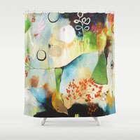 "flora bowley Shower Curtains featuring ""Rainwash"" Original Painting by Flora Bowley by Flora Bowley"