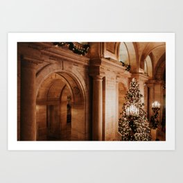 Christmas in New York; The Public Library - 3 | Colourful Travel Photography | New York City, America (USA) Art Print