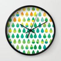 rain Wall Clocks featuring Monsoon Rain by Picomodi