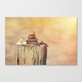 Balanced stone cairn in sunset light Canvas Print