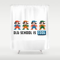 mario Shower Curtains featuring Mario by PixelPower
