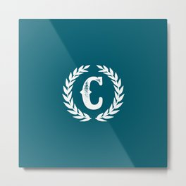 Dark Teal Monogram: Letter C Metal Print