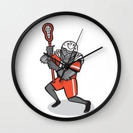 Gorilla Lacrosse Player Cartoon Wall Clock