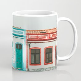 Turquoise Blue and Red Houses in Lagos, Portugal Coffee Mug