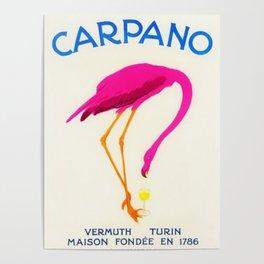 Vintage Carpano Pink Flamingo Motif Vermouth Advertisement Poster Poster