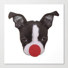 Boston Terrier Puppy Christmas Rudolph  Canvas Print