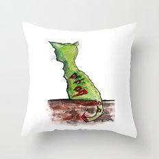 Reflective Zombie Cat Throw Pillow