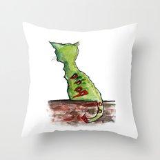 Reflective Zombie Cat Throw Pillow