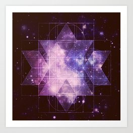 Galaxy Sacred Geometry: Purple Rhombic Hexecontahedron Art Print