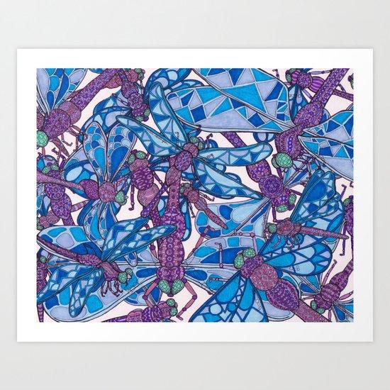 Dragonfly Disco (purple) Art Print