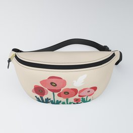 Poppy flowers and bird Fanny Pack