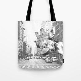 Black and White Selfie Giraffe in NYC Tote Bag