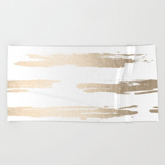 Simply Brushed Stripe White Gold Sands on White Beach Towel