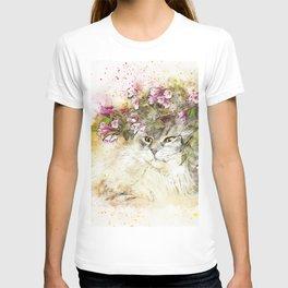 Cat hidden art abstract watercolor T-shirt