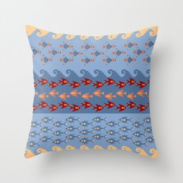 Inca Ethnic Pattern Fish and Birds Throw Pillow