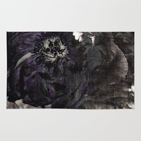 pastel goth Area & Throw Rugs featuring goth peony by inourgardentoo