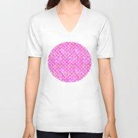 polka dots V-neck T-shirts featuring Pink Polka Dots 01 by Aloke Design