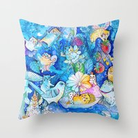 fairies Throw Pillows featuring Fairies Cats by oxana zaika