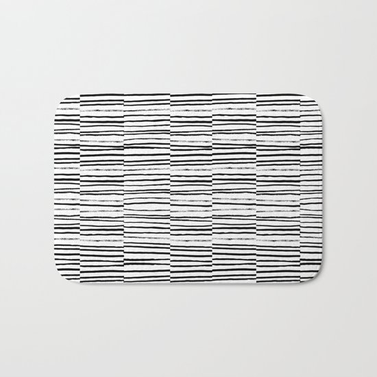 Broken Stripes pattern black and white modern urban brooklyn monochromatic print design ink  Bath Mat