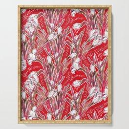 Crocus Flowers, Botanical Floral Pattern, Scarlet Serving Tray