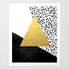 Rexa - gold abstract minimal tribal glitter triangle geometric art cell phone case brooklyn austin  Art Print