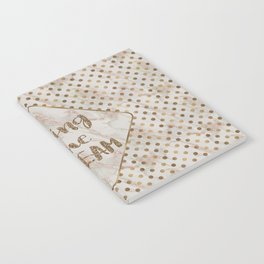 Living the DREAM typography Gold Polka Dots Gold Marble Notebook