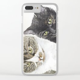 Two cats - tabby and tortie Clear iPhone Case