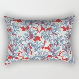 Leaf and Berry Sketch Pattern in Red and Blue Rectangular Pillow
