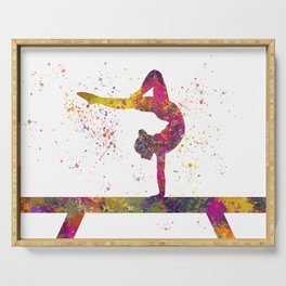 Rhythmic gymnastics competition in watercolor 05 Serving Tray