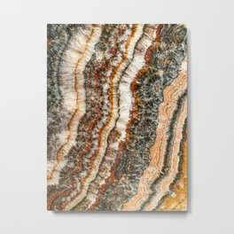 Agate Crystal II // Red Gray Black Yellow Orange Marbled Diamond Luxury Gemstone Metal Print