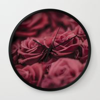 moulin rouge Wall Clocks featuring Rouge by Zayda Barros