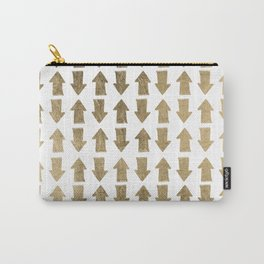Chic modern faux gold white bohemian arrows pattern Carry-All Pouch